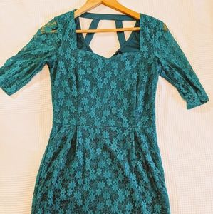 Lace cocktail dress teal green